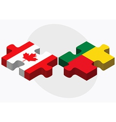 Canada and benin flags vector