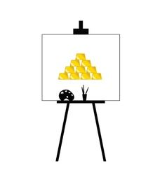 Gold bars on canvas yellow vector