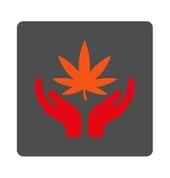 Marijuana care rounded square button vector