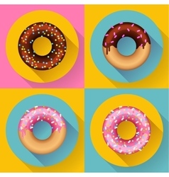 Icon set cute sweet colorful chocolate donuts vector