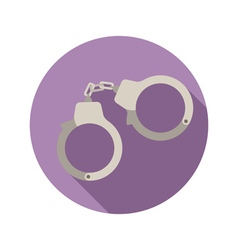 Handcuffs flat style icon on round badge vector