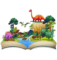 Book of dinosaur in the forest vector
