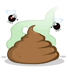 Stinky Pile Of Poop With Two Flies vector image