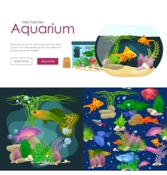 Aquarium fish seaweed underwater banner template vector