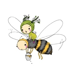Fairy and the bee on a white background vector