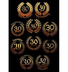 Anniversary golden laurel wreaths set vector image