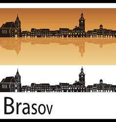 Brasov skyline in orange background vector