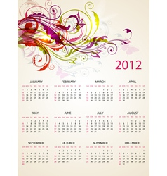 calendar design for 2012 with bright floral orname vector image
