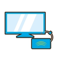 cartoon screen computer display equipment router vector image