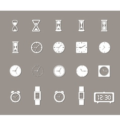 Clock icons set with shadows vector image vector image