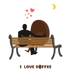 coffee lovers Coffee beans and man looking at moon vector image vector image