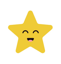 Cute cartoon happy star character with smile vector