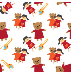 Doll bear and toy helicopter seamless pattern vector