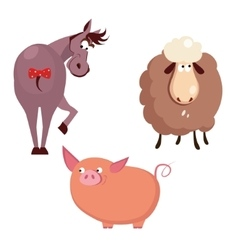 Donkey Pig and Sheep Farm Animals vector image
