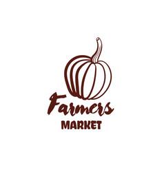 Farmers market pumpkin monochrome emblem vector