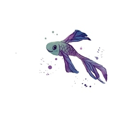 Fish WaterColor Blue vector image