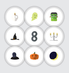 flat icon halloween set of crescent phantom vector image