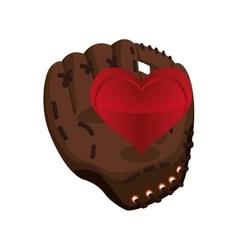 Glove heart baseball sport design vector