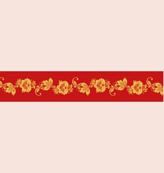 Gold and red hohloma seamless decoration vector