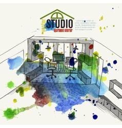Home office interior sketch vector