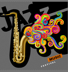 jazz music festival poster and cover with vector image