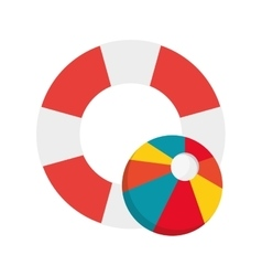 Life preserver and beach ball icon vector