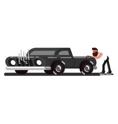 Man pushes the broken car vector
