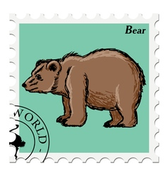 post stamp with bear vector image vector image