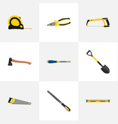 realistic arm-saw hatchet hacksaw and other vector image