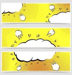 Retro vintage pop-art style yellow header set vector