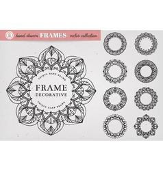 Set of 8 Hand Drawn Decorative Frames vector image