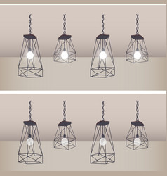 Set of modern ceiling lights with black metal vector
