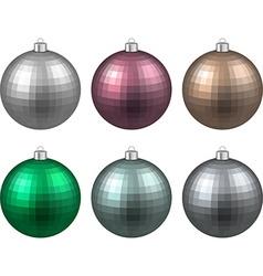 Set of textured realistic christmas balls vector