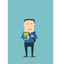 Student school boy with backpack books vector image