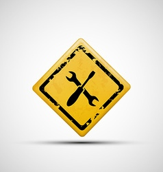 Yellow sign with wrench and screwdriver vector
