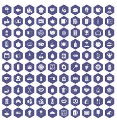 100 breakfast icons hexagon purple vector