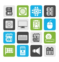 Flat computer performance and equipment icons vector