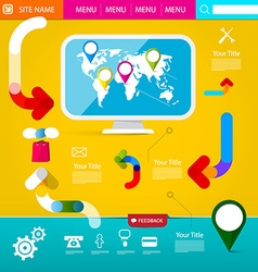 Web layout colorful funky web design web template vector