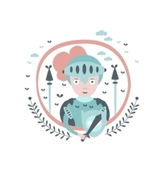Knight fairy tale character girly sticker in round vector