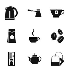 Beverage icons set simple style vector