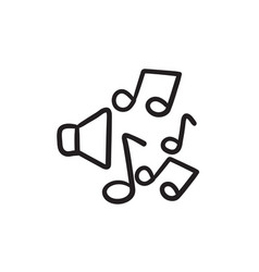 Loudspeakers with music notes sketch icon vector