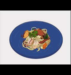 Pepperoni spaghetti hand drawn sketch vector