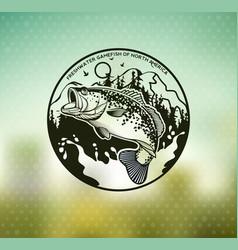 bass fishing emblem on blur background vector image