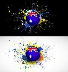 australia flag with soccer ball dash on colorful vector image