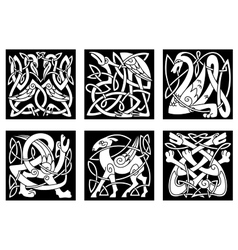 Celtic style animals on black background vector image
