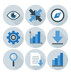 Blue and grey business flat circle icons vector