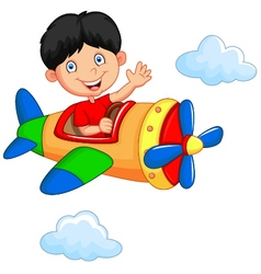 Cartoon boy riding airplane vector