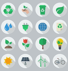 Eco flat icon set vector