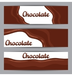 Set of horizontal banners with chocolate flow vector