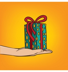 Outstretched hand with gift box vector
